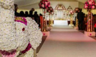 Traditional Manavarai with aisle decor and floral elephant
